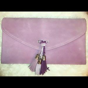 NWOT......WHBM Lavender Suede Clutch/Wristlet